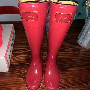 Joules red bow back rain boots